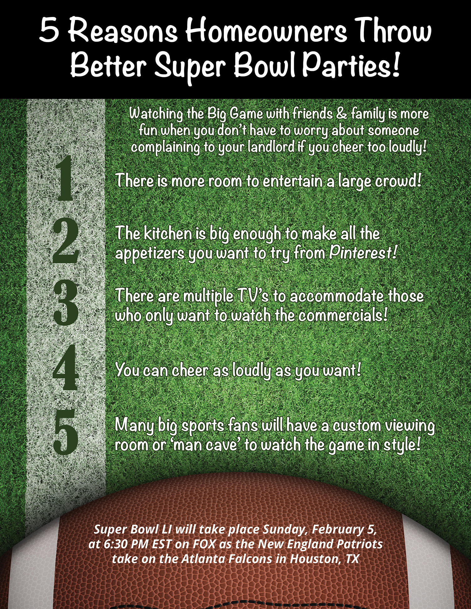 5 Reasons Homeowners Throw Better Super Bowl Parties! [INFOGRAPHIC]   Simplifying The Market