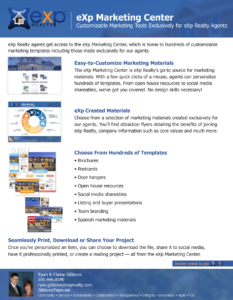 eXp Marketing Center offers an array of marketing materials including flyers, postcards, door hangers, and much more.