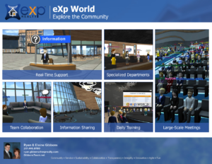 Exp World is where eXp agents go to get training, collaborate with oter agents, and to get support in accounting, agent services, tech, and other company resources.